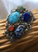 Sea Themed Signed Miracle Brooch - Vintage Pin with Fish, A Seahorse, Scallop Shells and Hermit Crab! Version 2